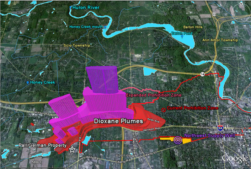 Map shows the extent of the underground 1,4 dioxane plume under Ann Arbor.
