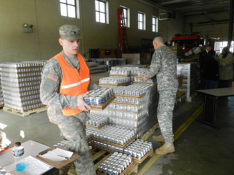 National Guardsmen delivered bottled water in Flint earlier this year.