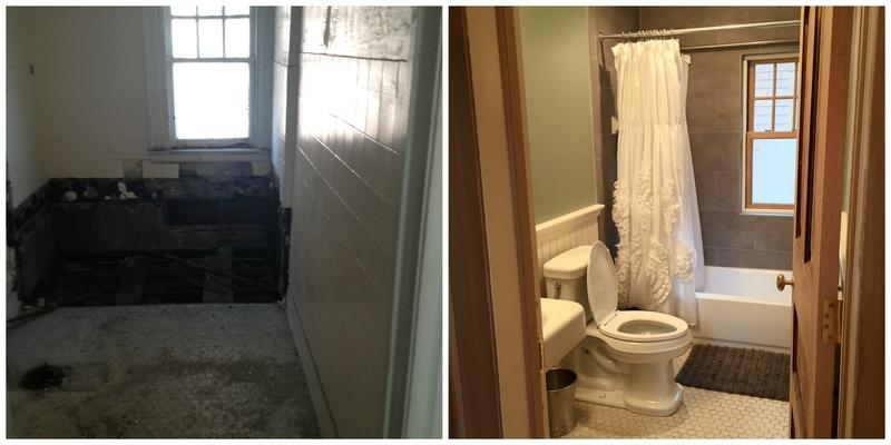 Before (left) and after (right) photos of Amy Haimerl's guest bathroom. Haimerl and her husband renovated a $35,000 home in Detroit's West Village.