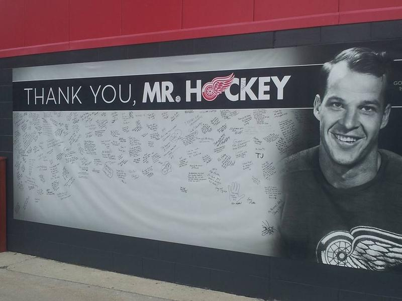 A tribute wall for Gordie Howe outside Joe Louis Arena.