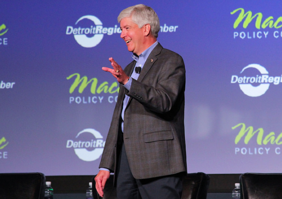 Gov. Rick Snyder speaking at the 2014 Mackinac Policy Conference