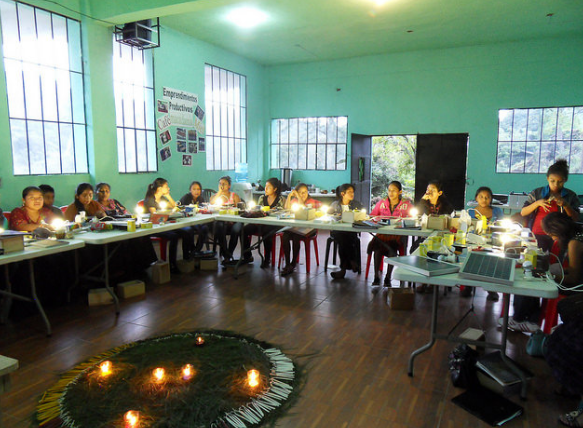 A workshop of Mayan women learning about solar power.