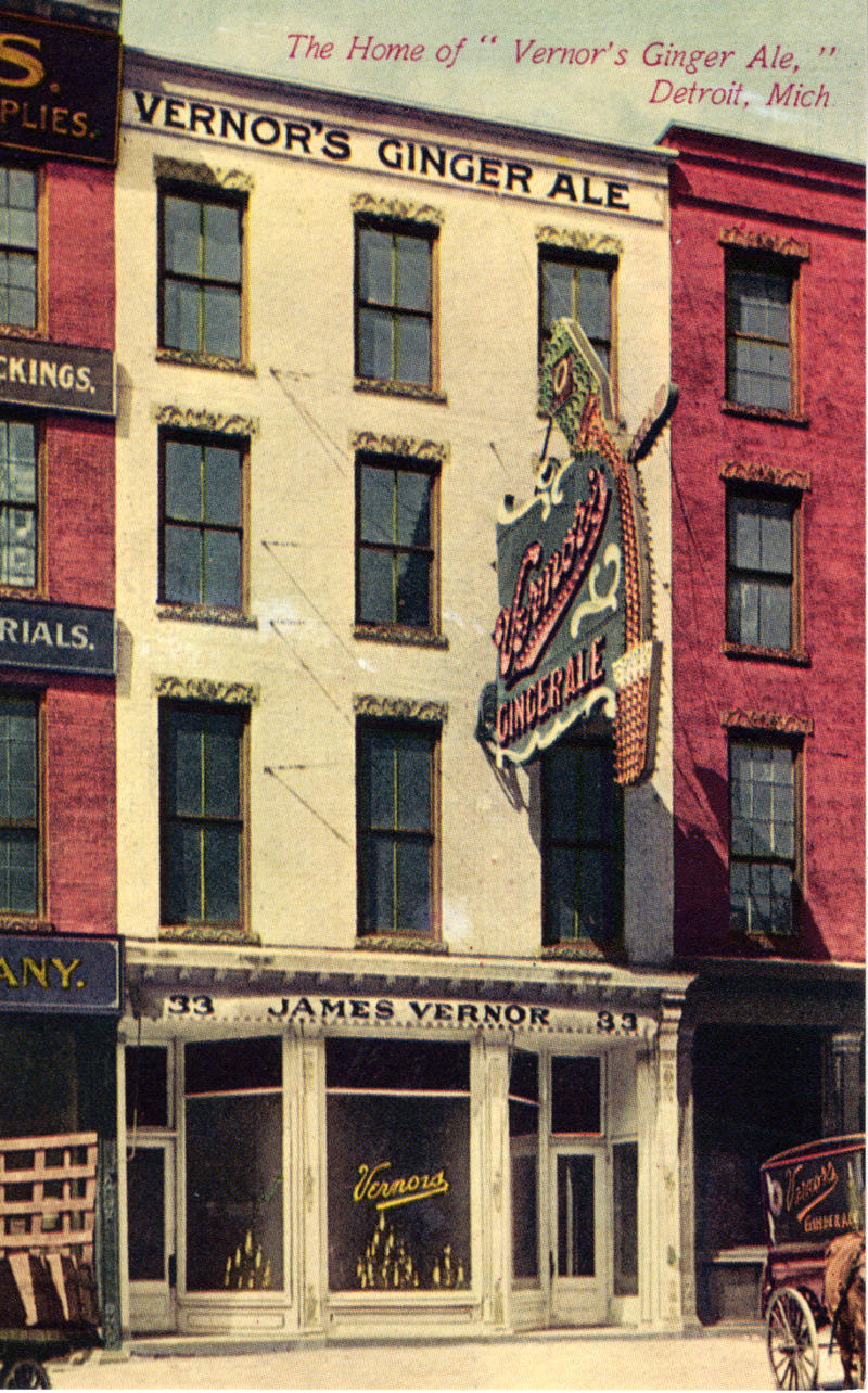 Postcard of the Vernor's soda fountain circa 1900.