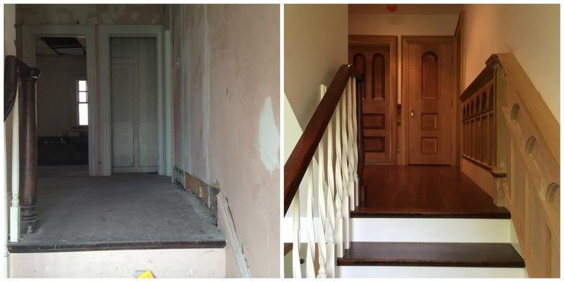 The home's desolate staircase (left) received fresh wood trimmings and paint after renovations (right).