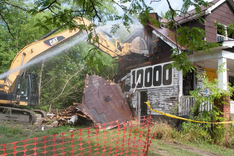 A home being demolished in Detroit.