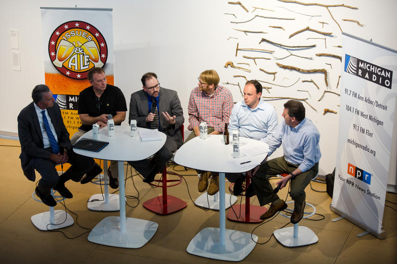 Panelists from left to right: Lawrence Stelma, Steven Dulan, David Tarrien, Mikael Pelz, Matt Grossmann and host Vincent Duffy