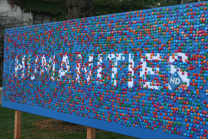 "The ""button wall"" at the University of Chicago's 2008 Humanities Day"