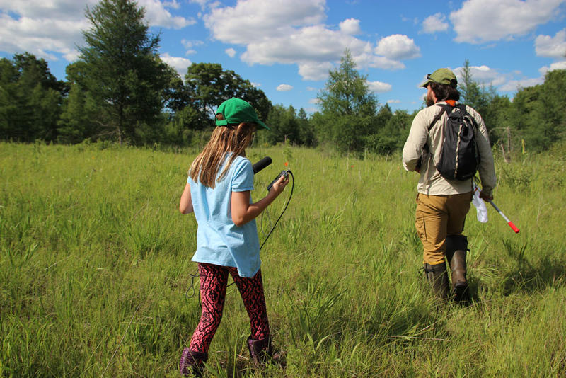 Nordmeyer and Cecelia Brush walk through the fen in Michigan.