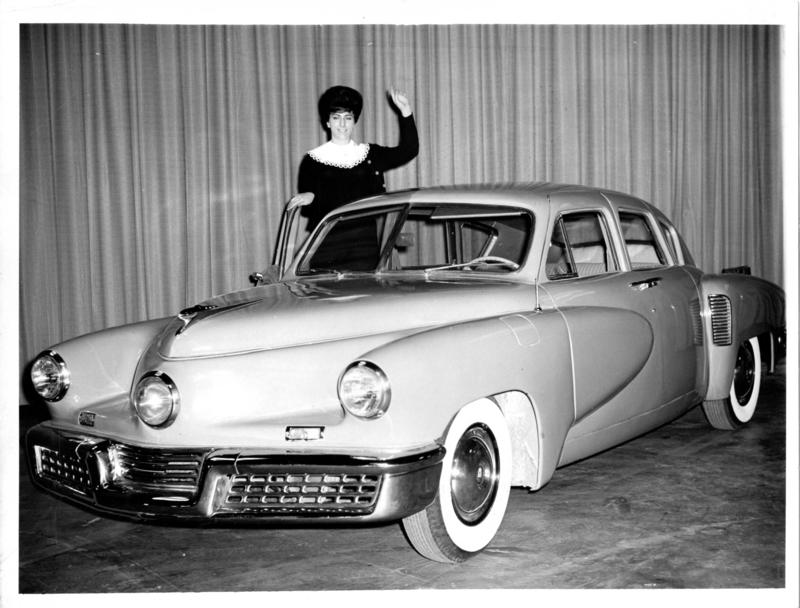 A 1948 Tucker sedan on display at McCormick Place in Chicago, 1962