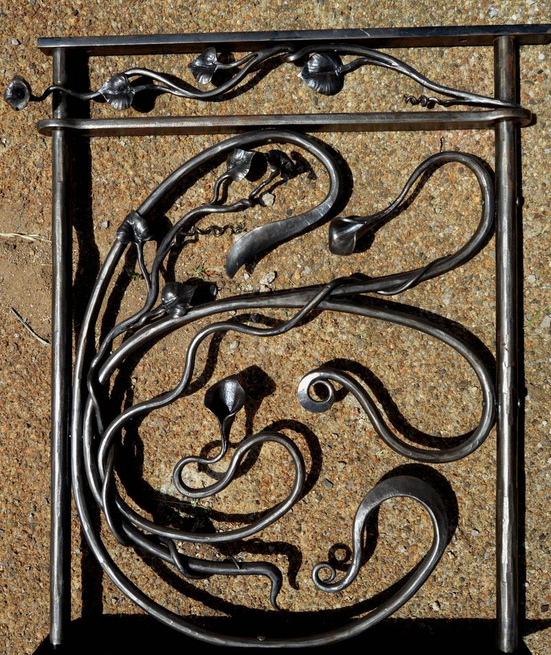 A section of railing in the Art Nouveau style.
