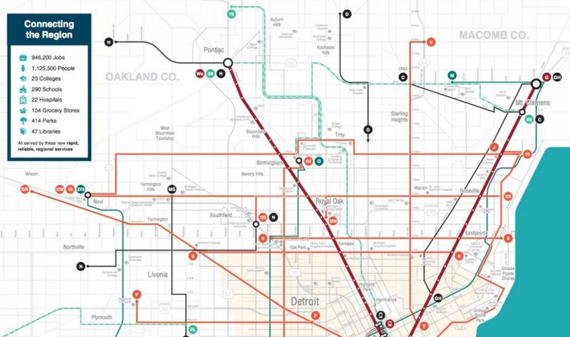 A map outlining the proposed transit master plan for Metro Detroit.