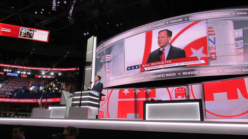 Attorney General Bill Schuette, R-Mich., addresses the 2016 Republican National Convention in Cleveland