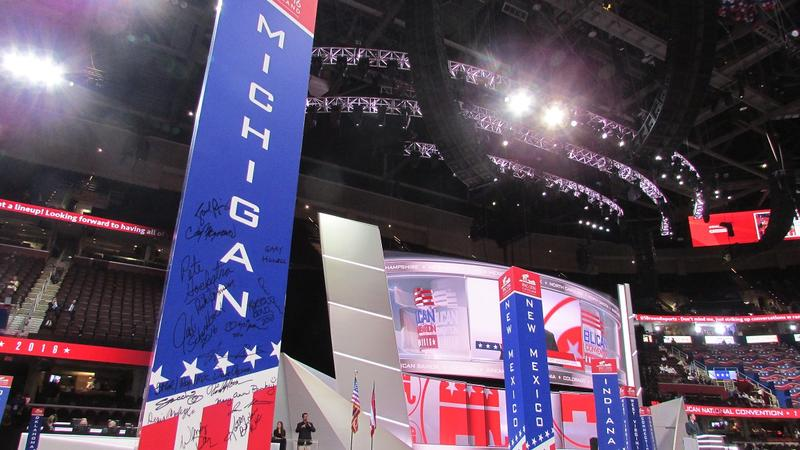 Michigan's delegates have a good view of the Quicken Loans Arena, not quite as close a view of the main stage itself.