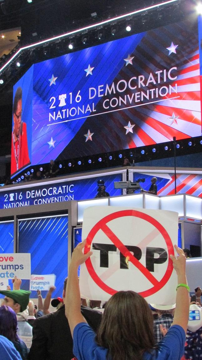On a night featuring union leaders, Bernie Sanders made perhaps the biggest statement against the Trans Pacific Partnership trade deal