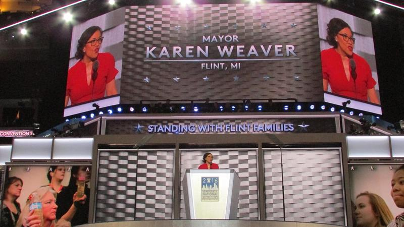 "Flint Mayor Karen Weaver tells the DNC ""The problems in Flint are not over.  The water is still not safe to drink."""