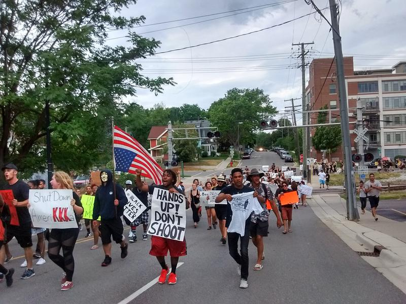 Protesters on William Street in Ann Arbor