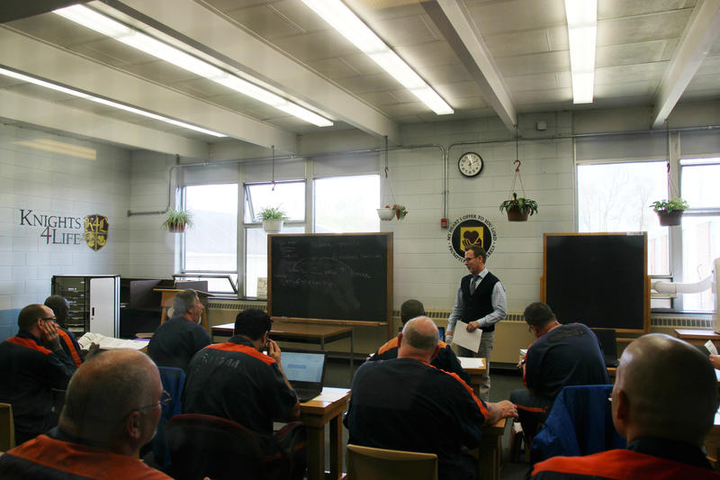 Professor Kevin Corconan teaches philosophy to student inmates