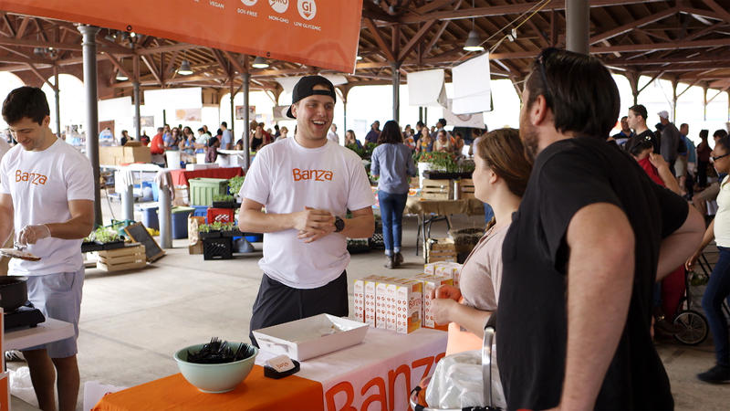 The Banza team promoting their chickpea pasta at Eastern Market in Detroit