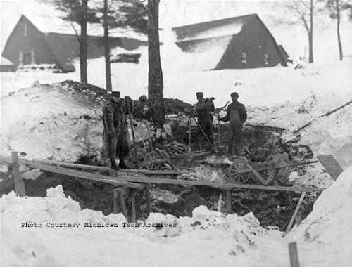 Laborers work at a Herman Gundlach construction site in Houghton County in the early 1900s.