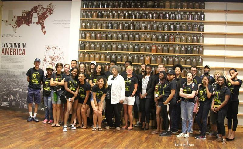 The MCHR Freedom Tour 2016 at the Equal Justice Initiative in Montgomery, AL. The Freedom Tour is pictured in front of EJI's soil collection project that is collecting soil from communities where lynchings have occurred across America to serve as a visual