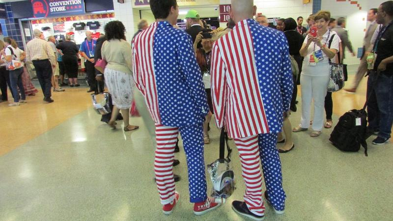 Two men dressed for the Republican National Convention