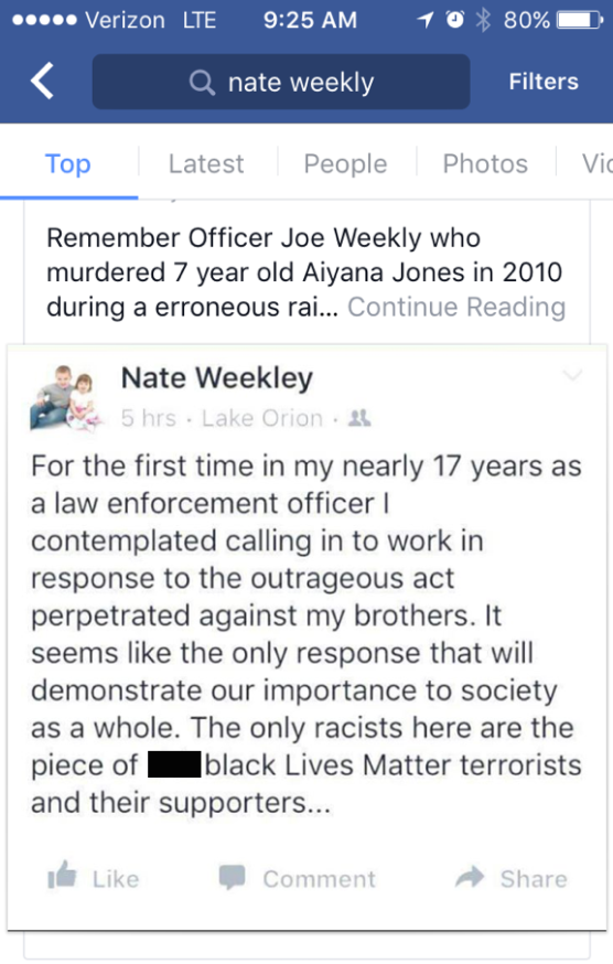 Screenshot of Facebook post by Det. Nate Weekley