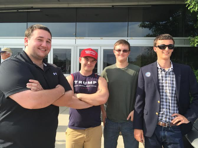 Matthew Meagher, left, is undecided; but his buddies are Trump supporters.