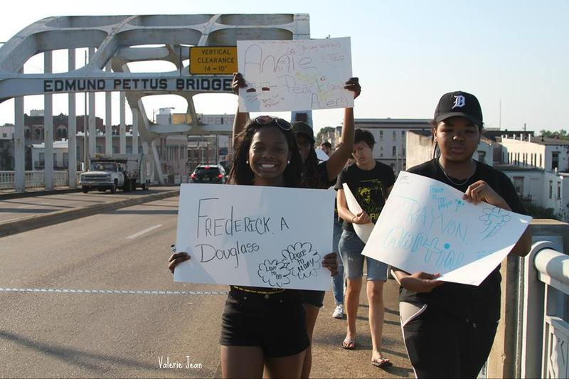 MCHR Freedom Tour 2016​ students​ marching across the Edmund Pettus Bridge in Selma, AL- the site of the infamous Bloody Sunday police attack.