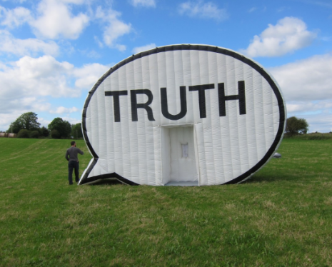 "Inside the ""Truth Booth,"" people can record their truths."