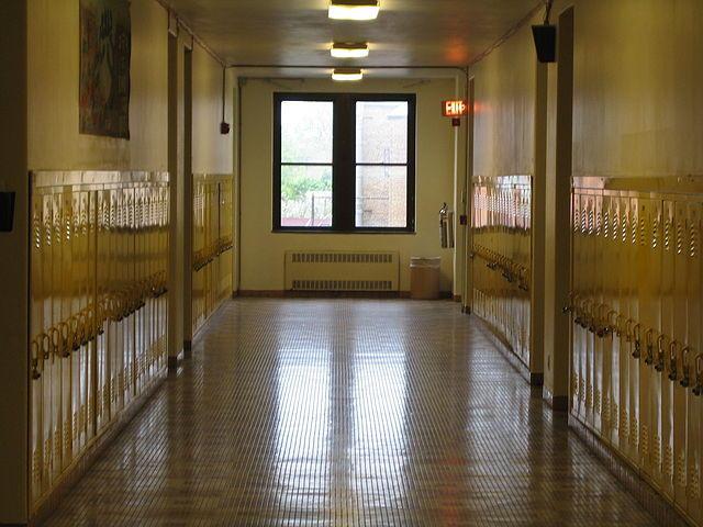 Empty school hallway in Detroit.