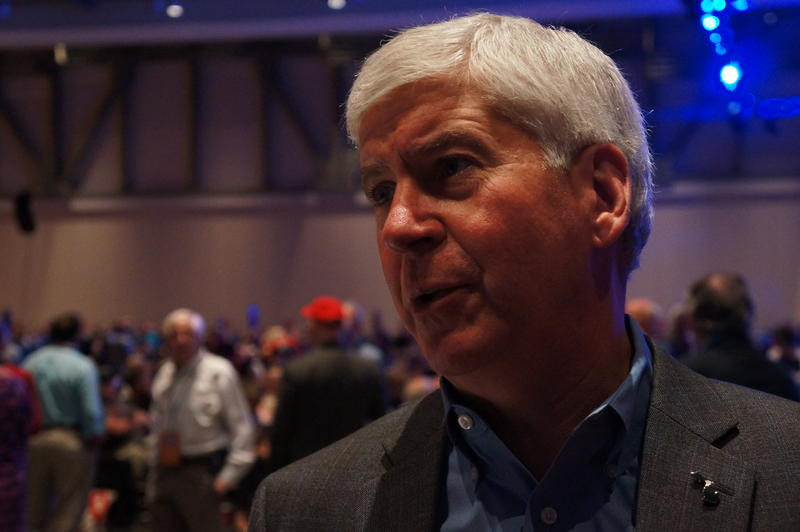Gov. Rick Snyder at the state GOP convention