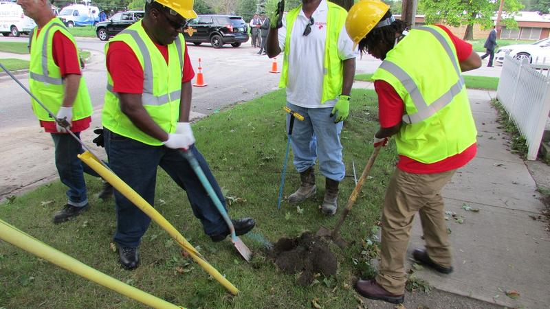 A crew replacing a lead service line in Flint.