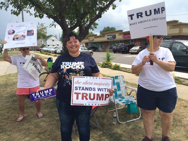 Trump supporters at the Hillary Clinton speech in Warren.