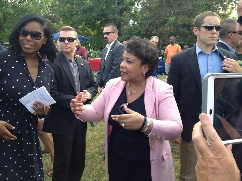 U.S. Attorney General Loretta Lynch at a Detroit rally promoting police-community ties.