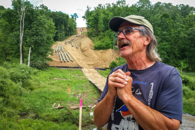 Farmer Mick Luber stands along the southern border of his property in eastern Ohio, where Marathon has begun installing a liquid natural gas pipeline.