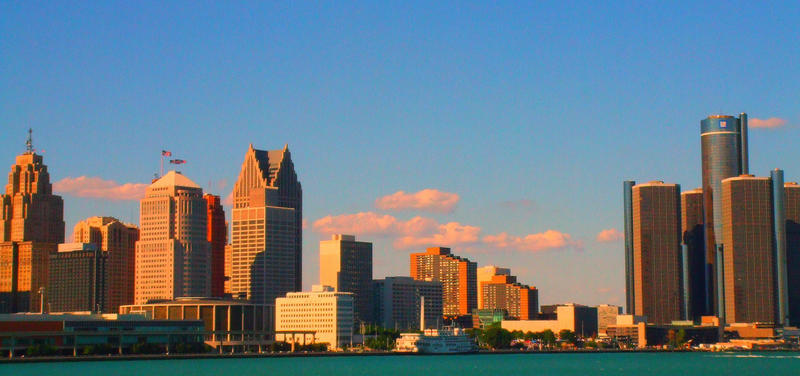 Detroit skyline as viewed from Windsor, Ontario