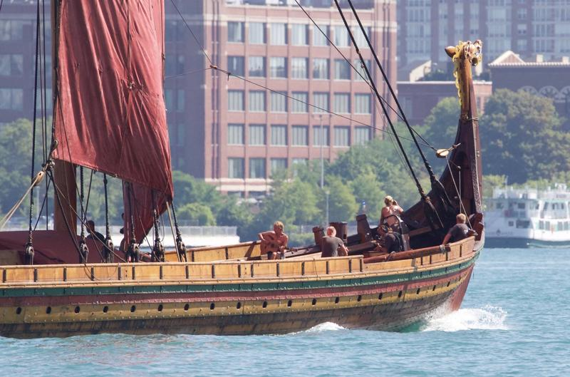 The Draken Harald Hårfagre as it passed Detroit on July 13.