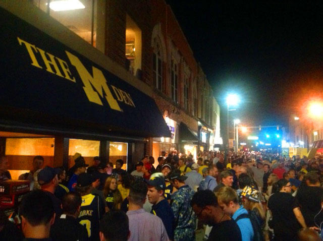 Fans lined up in downtown Ann Arbor for as many as 16 hours for a chance to be among the first to buy new Michigan-Nike gear.