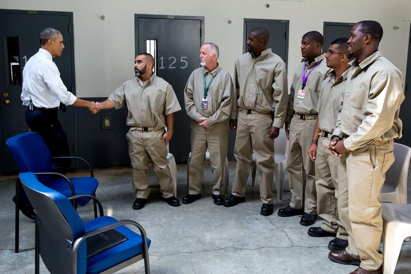 President Obama greets inmates during a visit to El Reno Federal Correctional Institution in El Reno, Okla., July 16, 2015.