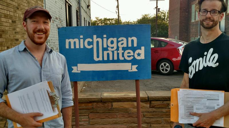 Andy Bean (left) and Seth Archambault (right) stand together after last Wednesday's New Race Canvass with Michigan United.