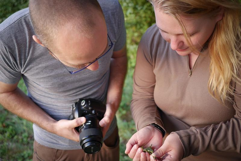 "Ecologist Ryan Utz and graduate student Catherine Giles check on a recent arrival to their ""moth board"" at Chatham University. Utz says they could see as many as 1,500 different species on campus over the next several years."