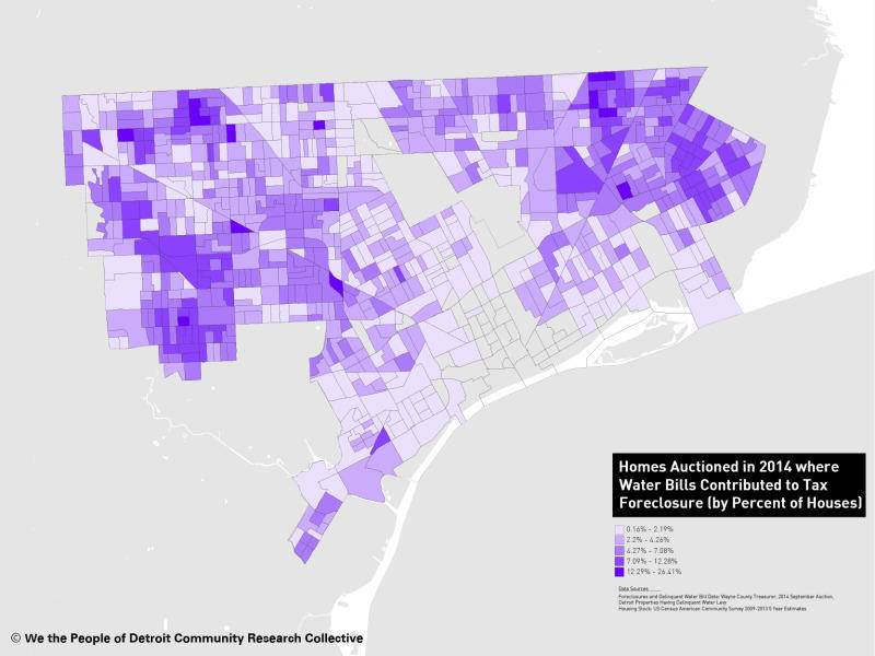 A map shows the link between water debt and property tax foreclosures in Detroit.