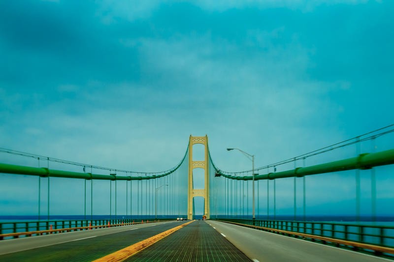 The Mackinac Bridge connects Michigan's upper and lower peninsulas