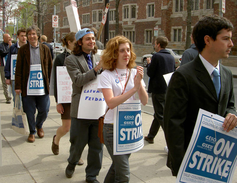A protest held by the Graduate Employees and Students Organization protest at Yale in 2005, calling for the return of collective bargaining rights that were taken away from graduate student employees the year before.