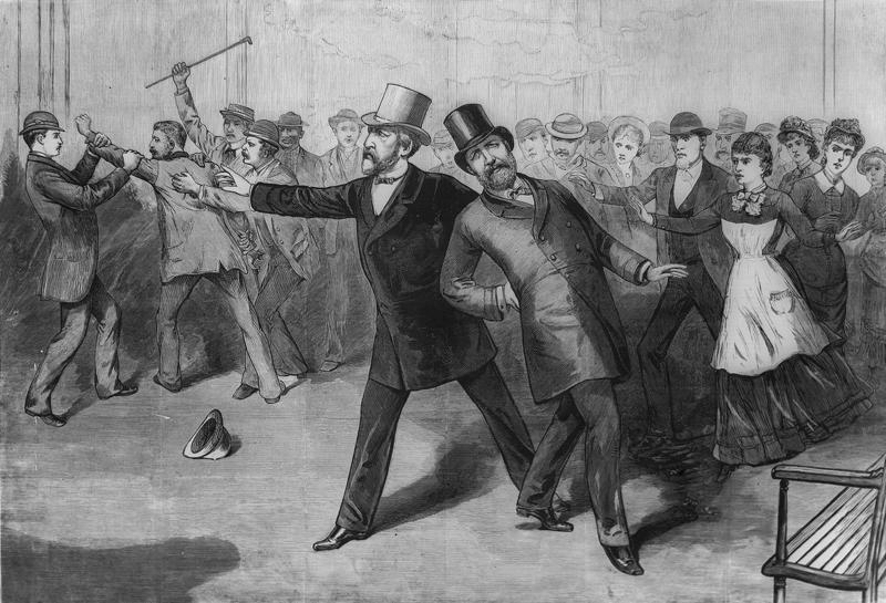 A contemporary engraving depicting President Garfield leaning after being shot by Charles Guiteau. He is supported by Secretary of State James Blaine.