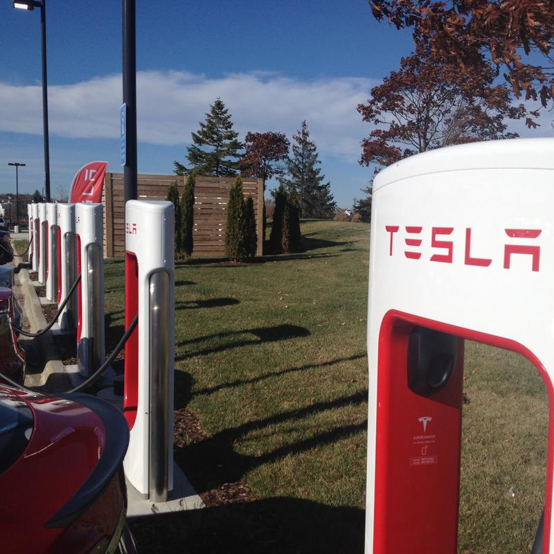 A Tesla supercharging station at a Meijer store in Ann Arbor.