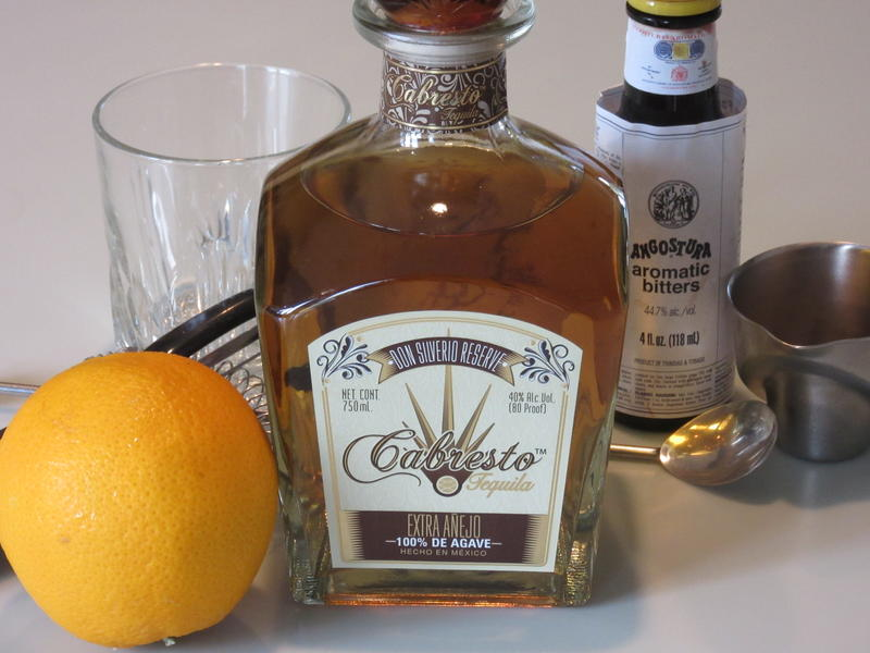 Cabresto tequila and the makings of a Tequila Old Fashioned.