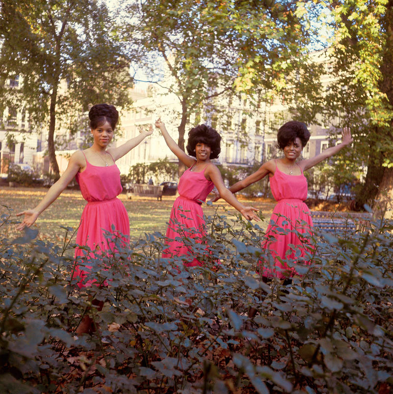Florence Ballard, Mary Wilson and Diana Ross in London's Manchester Square, outside the headquarters of EMI Records, in October 1964.