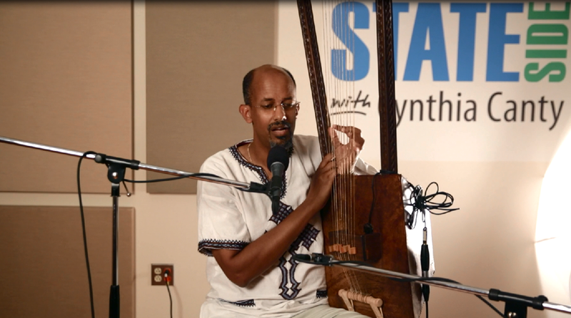 Temesgen Hussein of East Lansing with his begena harp.