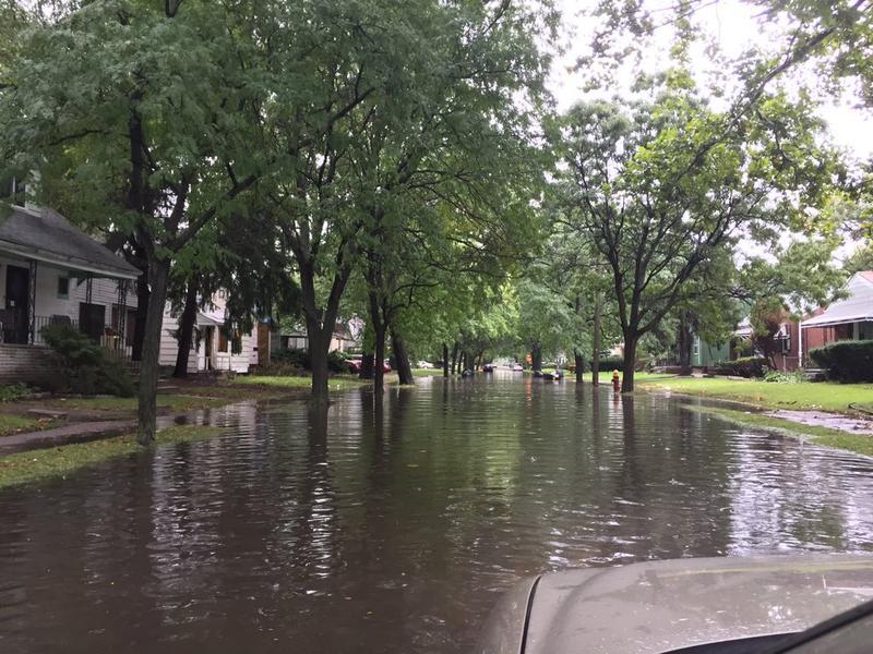 Detroit residential street flooding.